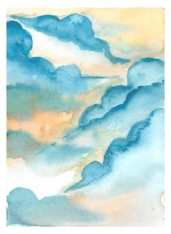 Beautiful cumulonimbus hand painting watercolor background