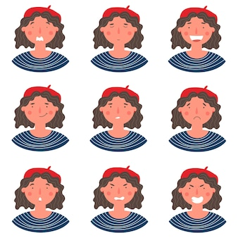 Beautiful curly woman in biret portrait with various facial expressions set isolated on white background. young girl smiling, happy, fear, kind, angry, greeting emotions face vector character.
