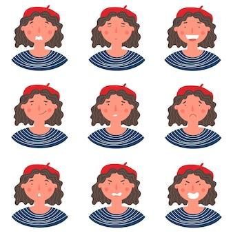 흰색 배경에 격리된 다양한 표정을 가진 비레 초상화를 입은 아름다운 곱슬머리 여성. 웃고, 행복하고, 두려움, 친절하고, 화나고, 인사하는 어린 소녀는 벡터 캐릭터에 직면해 있습니다.