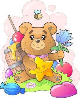 Красивая милая иллюстрация медведя