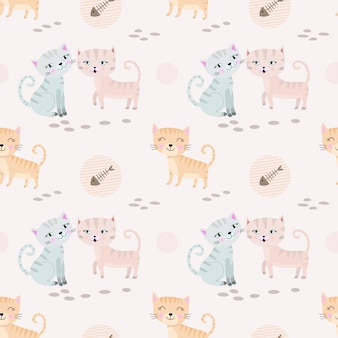 Beautiful cute cat seamless pattern fabric textile.