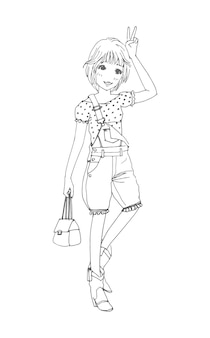 Beautiful cute girls hand drawn happy young girl teenager cartoon doodle women isolated illustration