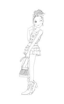 Красивые милые девушки рисованной счастливая молодая девушка подросток мультфильм каракули женщины изолированных вектор