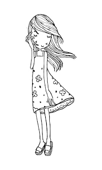 Beautiful cute girls hand drawn happy young girl teenager cartoon doodle women isolated vector