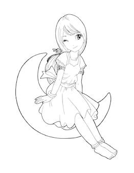 美しいかわいい女の子手描き幸せな若い女の子ティーンエイジャー漫画落書き女性分離