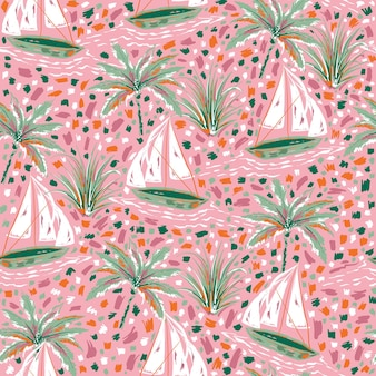 Beautiful and cute hand paint brush strokes sailboats and palm tree seamless pattern vector