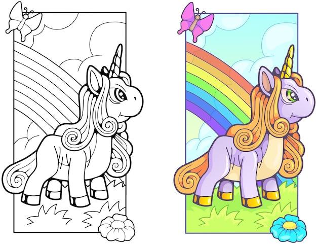 Красивая милая иллюстрация единорога пони