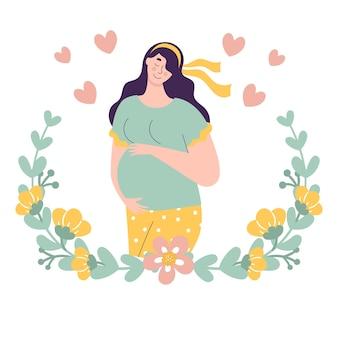 아름 다운 귀여운 임신 한 여자