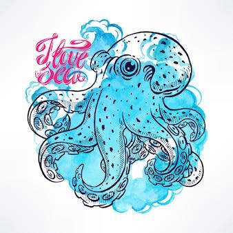 수채화 파란색 배경에 아름 다운 귀여운 스케치 문어. 손으로 그린 그림