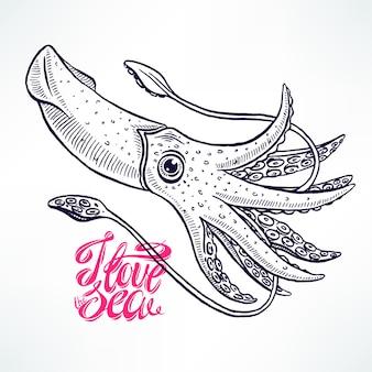 블루 수채화 배경에 아름 다운 귀여운 스케치 오징어. 손으로 그린 그림