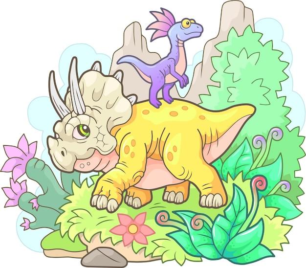 Красивая милая иллюстрация трицератопса