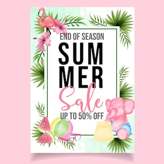 Beautiful cute watercolor flyer summer sale banner
