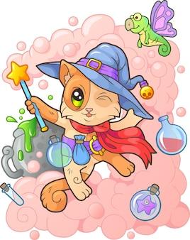 Красивая милая волшебная кошка иллюстрация