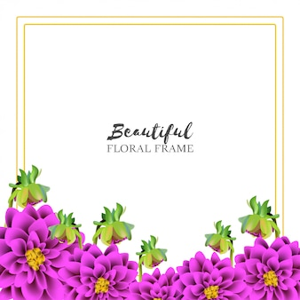 Beautiful dahlia floral frame realistic style