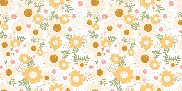 Beautiful daisies seamless pattern for children fabric wallpaper and many more
