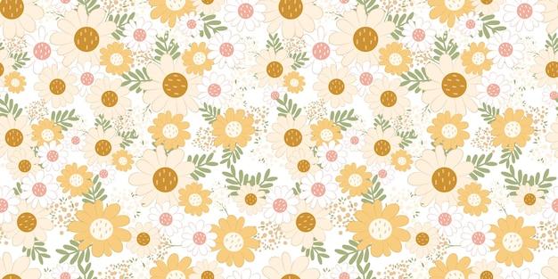 어린이 패브릭 벽지 등을 위한 아름다운 데이지 원활한 패턴