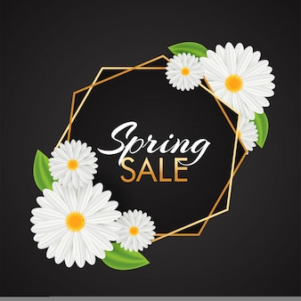 Beautiful daisy flowers decorated spring sale template