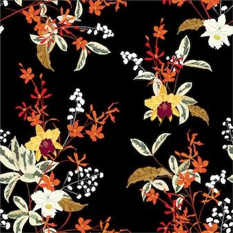 美しい暗い咲く穏やかな庭の蘭の花と多くの種類のシームレスな花柄