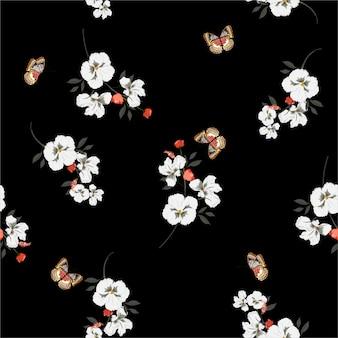 패션, 직물, 벽지 및 모든 인쇄를위한 벡터 디자인에 나비 부드럽고 부드러운 원활한 패턴으로 아름 다운 어두운 정원 흰색 팬지 꽃
