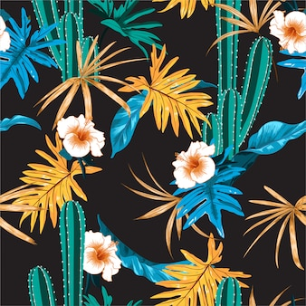 Beautiful dark tropical with cactus,hibiascus flower and exotic jungle leaves seamless pattern