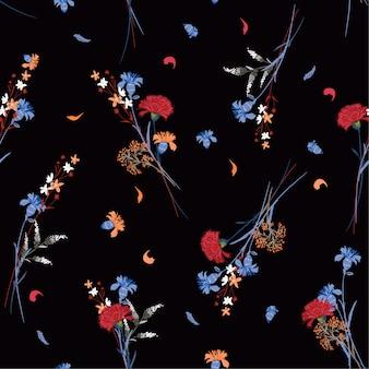 美しい暗い野生の花のパターン