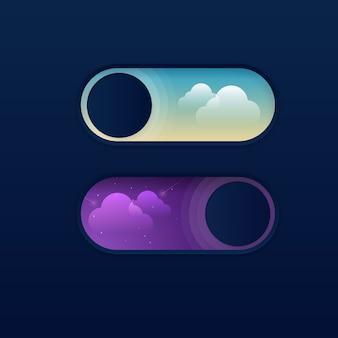 美しい昼と夜のニューモルフィズムトグルスイッチオンオフボタン