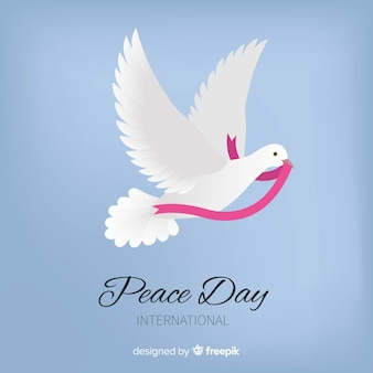 Красивый день мира с голубями