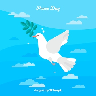 Beautiful day of peace background with pigeon