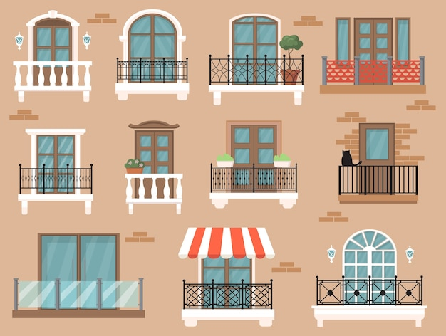 웹 디자인을위한 아름다운 장식 발코니 평면 세트. 고전적인 장식과 울타리 격리 된 벡터 일러스트 컬렉션 만화 빈티지 창. 건축과 외관 개념