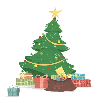 Beautiful decorated christmas tree with gifts