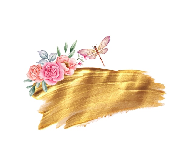 Beautiful decoration of golden brush stroke with floral elements and dragonfly