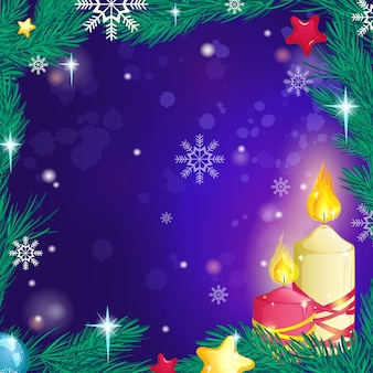 Beautiful decorative burning candles background, a frame of fir branches, snowflakes and stars.