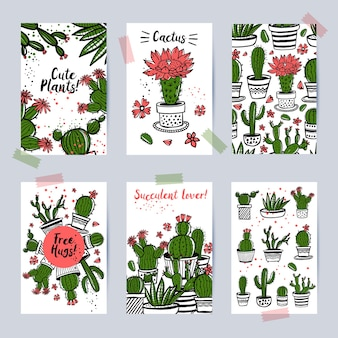 Beautiful decorative cards with cactuses and succulents, cards temolates perfect for invitations, celebrations, stationary, seamless decorative pattern.