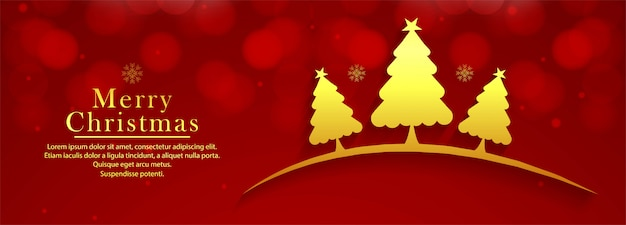 Beautiful decorative christmas tree colorful banner