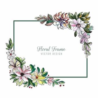 美しい装飾的なカラフルな花フレームの背景