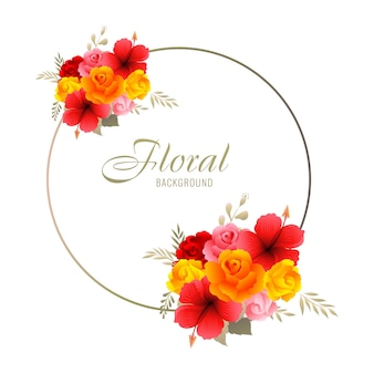 Beautiful decorative colorful wedding floral frame