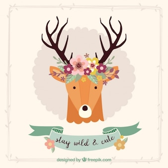 Beautiful decorative deer card with floral details