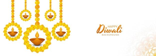 Bellissimo sfondo decorativo dell'insegna di celebrazione della lampada a olio diya