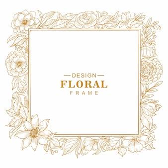 Beautiful decorative floral frame sketch background
