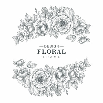 美しい装飾的な花のフレームスケッチデザイン