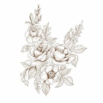 Красивый декоративный цветочный эскиз