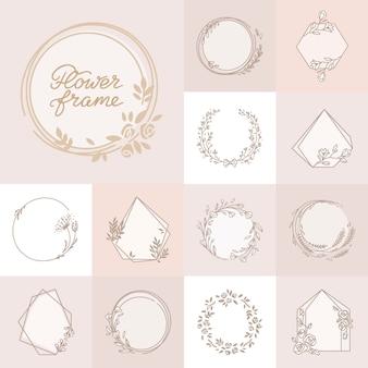 Beautiful decorative floral wreath frame set