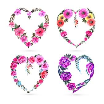 Beautiful decorative flower heart set card design