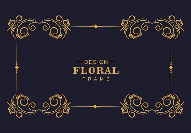 Beautiful decorative golden floral frame design