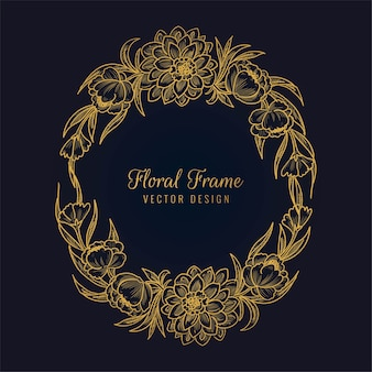 Beautiful decorative golden floral frame