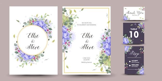 꽃 장식으로 아름다운 장식 인사말 카드 또는 초대장 프리미엄 벡터