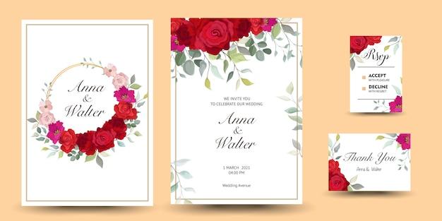 꽃 장식으로 아름다운 장식 인사말 카드 또는 초대장