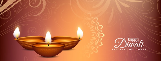 Красивый декоративный баннер happy diwali с лампами