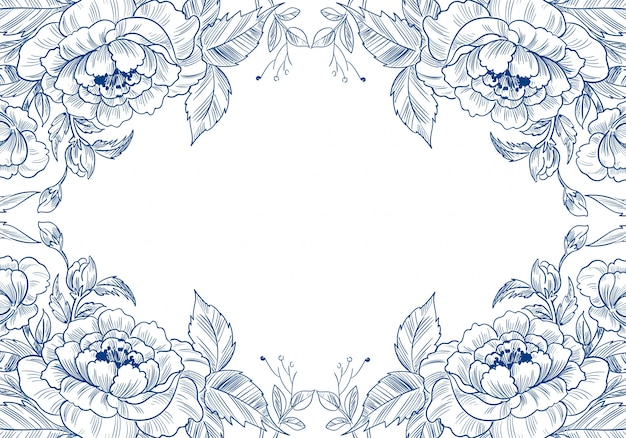 Beautiful decorative sketch floral card background