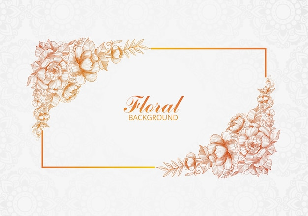 Beautiful decorative wedding floral card